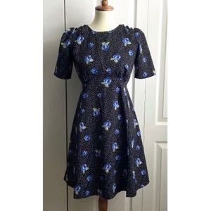 ASOS Black Dress Blue Flowers Sz 4 Fit and Flare